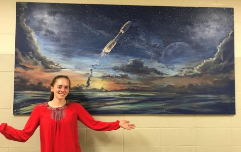 Departing Hawk leaves her mark: Parks paints mural for science hallway