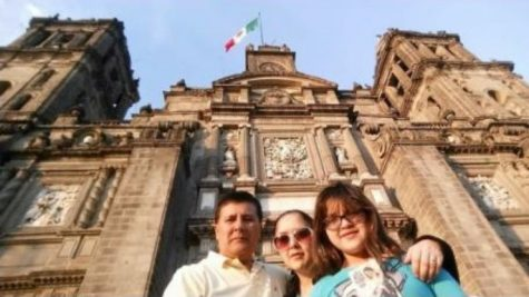 Monica Cespedes and her parents snapped a shot in front of el Zocalo, the main government building in Mexico City; She continues to explore the many aspects of the cultures that surround her.