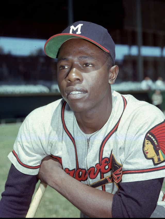 Hank Aaron with the Milwaukee Braves in 1957. Aaron would total 733 home runs on the Braves.