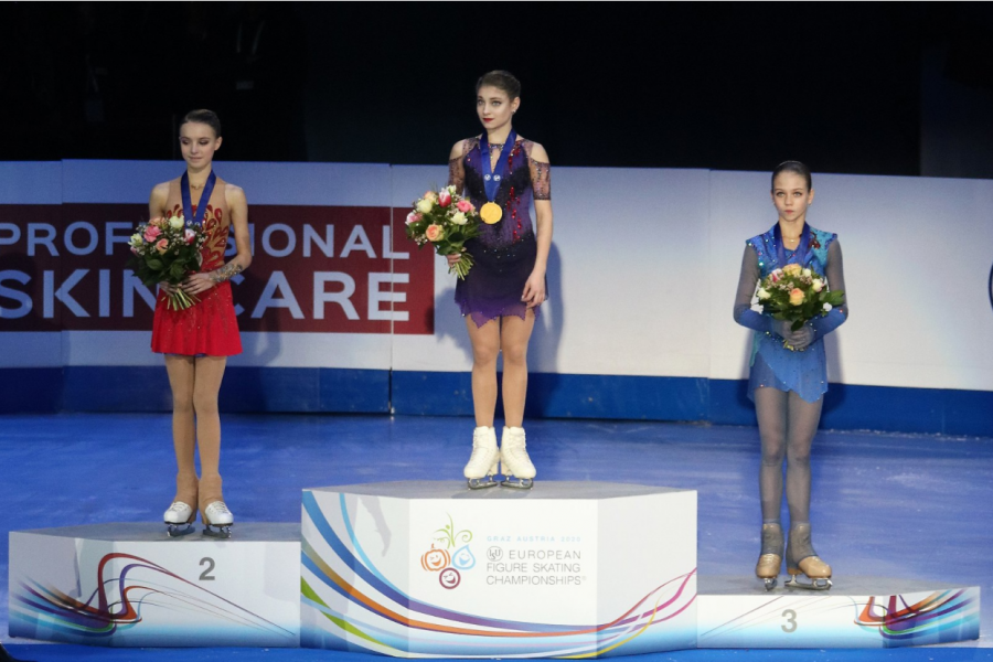 Anna Shcherbakova (left), Alena Kostornaia (center), Alexandra Trusova (right) on the podium at the 2020 European Figure Skating Championships. Creative Commons 4.0 international, image by Luu