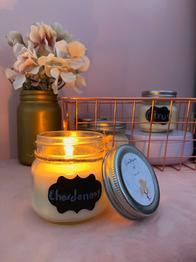 One of Kris Gray's homemade candles for Kontagious Candles. The company name replaced a C with a K for her name.