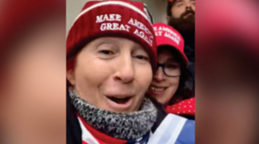 Dawn Bancroft and Diana Santos-Smith posing while the pro-Trump Capitol riot was occurring. Women were active during this riot, and many of the past.