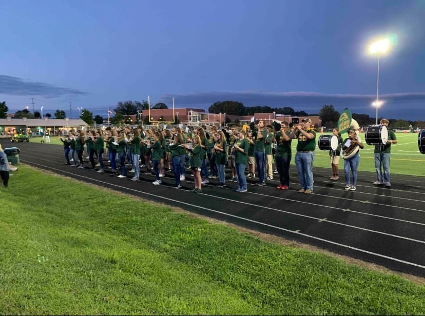 NHHS Band Members practicing a performance. They continued to implement these practices for the upcoming show at the homecoming game on Oct. 8.