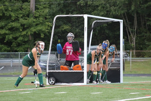 The Hawks defense lines up for a penalty corner against North East. Pictured from left to right, Greer Strine ('22), Reilly Holmstrom ('23), Kendall Fortune ('23), Bella Southard ('23), and Grace Underwood ('23).