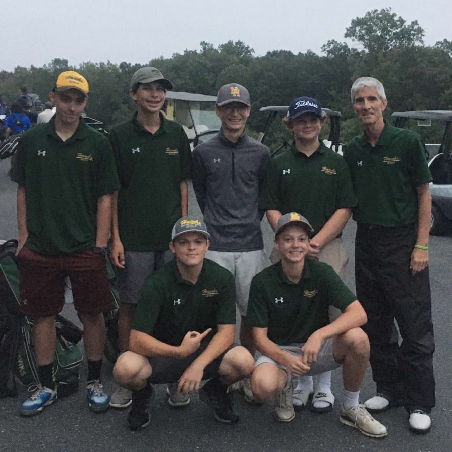 Members of the North Harford golf team won the UCBAC golf tournament with a score of 307. Beating C Milton Wright's golf team by 17 points and Fallston's golf team by 23 points. Photo Credit -Johnny Manzari