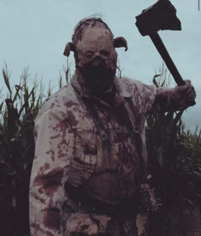 Scarers are in action for this year's Legends of The Fog experience. Ben Davis dressed up as a pig butcher.